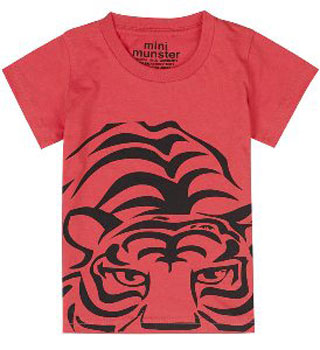 Red Tiger Print T-Shirt by Munster Kids