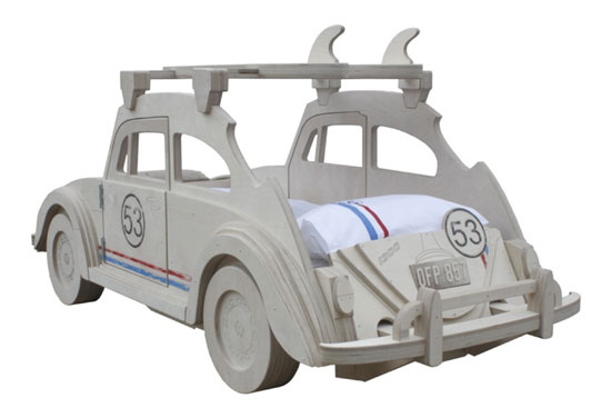 Herbie-themed VW Beetle bed at Cuckooland