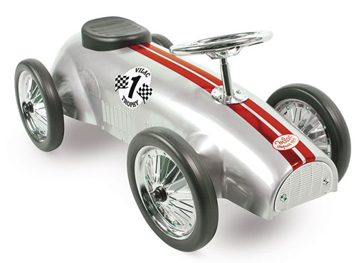 Vilac vintage-style silver ride-on car
